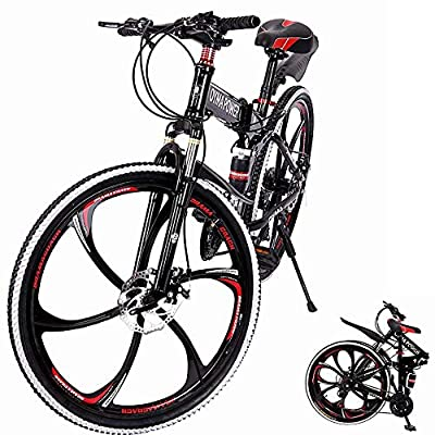 BRADEM 26 inch 21 Speed High Carbon Steel Folding Mountain Bike, Full Suspension MTB Bicycle for Adult, Double Disc Brake Outroad Mountain Bicycles (Black-6 Spoke)