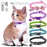 Simpeak 5 Stück Katzenhalsband mit Glocke, reflektierende Katzen Halsbänder, 2 Stuck Adressetiketten Anhänger, Sicherheitsauslöser, verstellbar 19-32 cm