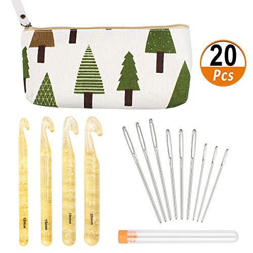 Aipaide Großes Häkelnadel Set 4 Stück Kunststoff Häkelnadeln 15 Stück Stumpfe Nadeln mit Großen Ösen für DIY Basteln Handwerk mit Aufbewahrungstasche
