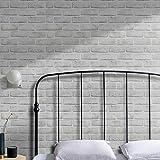 Papel Pintado Adhesivo Blanco Clásico con Patrón de Ladrillo Vinilo Decorativos Pegatinas Rollo para pared Mueble Puerta Impermeable Autoadhesivo 45X300cm