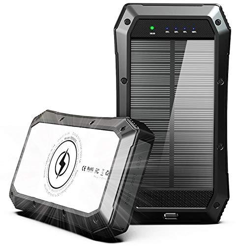 ABFOCE Solar PowerBank 20000mAh Cargador, 10W Qi Carga Inalámbrica, Batería Externa de Carga 3 Salida 18W Tipo C Carga Rápida con Linterna 44 Leds Panel para Viajes