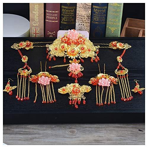 JIWEIER Chinese Style Hairpin Gold-Kopfschmuck Braut Stirn-Haar-Kamm-Satz-Brauthaarnadeln Hochzeit Haarschmuck for Bräute Frauen Kopfschmuck (Color : Set)