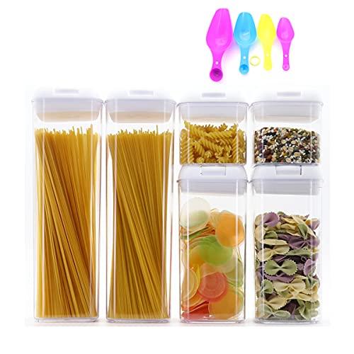 Barattoli per alimenti Contenitori per alimenti, set da 6 pezzi, contenitori per alimenti con coperchio ermetico, contenitori per alimenti in plastica resistente, senza BPA