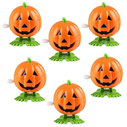 The Dreidel Company Halloween Pumpkin Wind-Up Toys, Birthday Party Favors, Novelty Toys for Boys and Girls, 2' Inches (6-Pack)