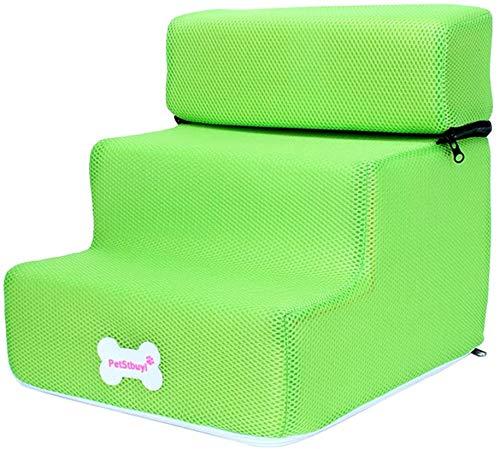 Vwlvrsco - Escalera para mascotas con 3 escalones para perros pequeños de hasta 70 libras, rampa extraíble para perros escalar escaleras plegables para cama