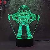 Lámpara 3D de iluminación LED USB Toy Story Ilusión óptica LED lámpara de mesa con botón táctil de 16 colores que cambian para regalo de Navidad y cumpleaños