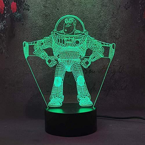 Lámpara de ilusión óptica 3D 3D luz nocturna juguete historia regalo para niña, luz nocturna 3D para niños, 16 colores que cambian de acrílico LED luz de noche, regalo de cumpleaños