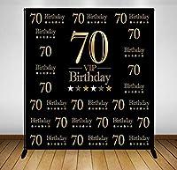 5x7フィート ブラック VIP Happy 70th Birthday 背景幕 コンピュータ印刷パーティー ゴールドスターバナー 背景 G-896