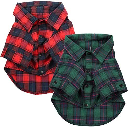 Woiworco 2 Pieces Dog Shirt Classic Plaid Pet Clothes Shirts 100 Cotton Comfortable New Year product image