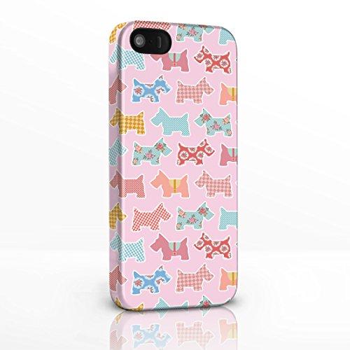 Kitsch Vintage Floral Gemustert Shabby Chic Handy Fällen für das iPhone Serie. 3D Hard Rückseite Glossy Cover für iPhone Modelle, Plastik, 6. Scottie Dogs on Light Pink Background, iPhone 6 Plus
