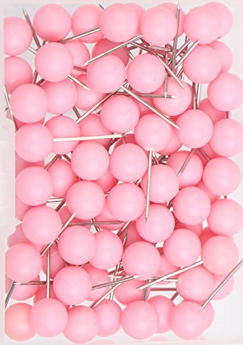 AnMiao Star 100pcs Map Tacks Push Pins 1/4 Inch Diameter Plastic Round Head,Used for Marking Variety DIY Craft Office and Home on Map,Bulletin Board or Cork Boards.(Pink)