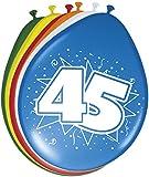 Folat B.V.- 45 cumpleaños Globos 30 cm – 8 Unidades, Multicolor, Costumes (08224)