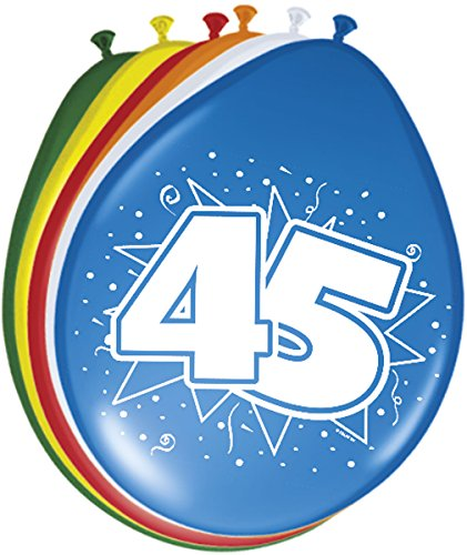 Folat 08224 45. Geburtstag Ballons 30 cm-8 Stück, Mehrfarbig