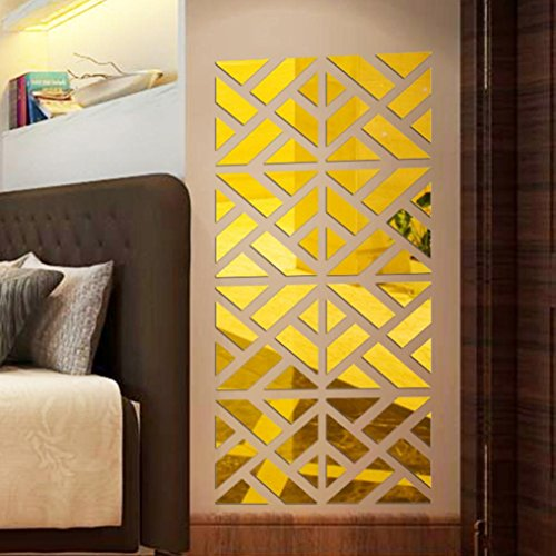 Nesee Wall Sticker,32Pcs 3D Mirror Acrylic Wall Sticker DIY Art Vinyl Decal Home Decor Removable (Gold)
