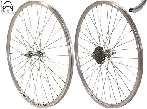 Exal Redondo 28 Zoll Laufrad Set Hinterrad + Vorderrad V-Profil Silber + 7-Fach Shimano Kranz