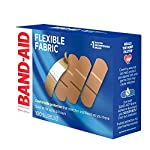 Johnson & Johnson Band-Aid Brand Flexible Fabric Adhesive Bandages for Wound Care and First Aid, All One Size, 100 Count… 18 100-count Band-Aid Brand Flexible Fabric Adhesive Bandages for first aid and wound protection of minor wounds, cuts, scrapes and burns Made with Memory-Weave fabric for comfort and flexibility, these bandages stretch, bend, and flex with your skin as you move, and include a Quilt-Aid comfort pad designed to cushion painful wounds which may help prevent reinjury These Band-Aid Brand Flexible Fabric adhesive bandages stay on for up to 24 hours and feature a unique Hurt-Free Pad that won't stick to the wound as they wick away blood and fluids, allowing for gentle removal
