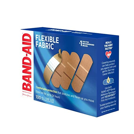 Johnson & Johnson Band-Aid Brand Flexible Fabric Adhesive Bandages for Wound Care and First Aid, All One Size, 100 Count… 7 100-count Band-Aid Brand Flexible Fabric Adhesive Bandages for first aid and wound protection of minor wounds, cuts, scrapes and burns Made with Memory-Weave fabric for comfort and flexibility, these bandages stretch, bend, and flex with your skin as you move, and include a Quilt-Aid comfort pad designed to cushion painful wounds which may help prevent reinjury These Band-Aid Brand Flexible Fabric adhesive bandages stay on for up to 24 hours and feature a unique Hurt-Free Pad that won't stick to the wound as they wick away blood and fluids, allowing for gentle removal