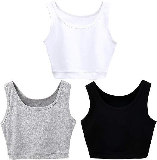 VIKIDEER 3 Pack Basic Crop Tank Tops for Women Short Yoga Dance Athletic Sport Shirts for Teen Girls