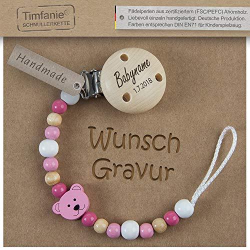 Schnullerkette mit Namen | für Mädchen | Timfanie® Teddy-berry