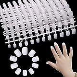 Allstarry 480pcs Children Fake Nail Tips Acrylic White Short Full Cover False Artificial Nails for for Kids Little Girls