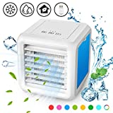 Baban Portable Conditioner Fan-Personal Mini Cooler, 3 in 1 USB Evaporative Coolers LED Table Fan with 2 Detachable Waterboxes, 3 Speeds, Ultra-Quiet Table Fan for Home Office Bedroom Kids