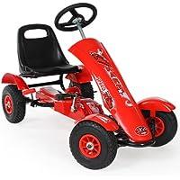 TecTake 800123 Go Kart Coche con Pedales, Deportivo Carreras, Encadenado Protegido, Acero - Disponible en Diversos Colores (Rojo   No. 401032)
