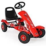 tectake 800123 Kart à Pédales d'extérieur Go-Kart au Design Sportif avec Roues Gonflables - Diverses Couleurs - (Rouge | no. 401032)