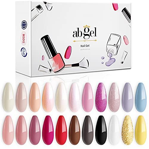 ab gel 22 Pcs Gel Nail Polish Set, Soak-off Nail Polish Black Glitter White Gel Nail Polish Pink Red Glitter Gel Nail Polish Kit