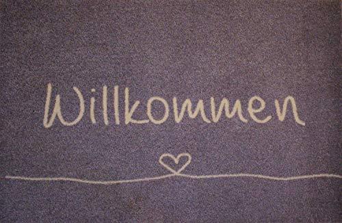 Bavaria Home Style Collection Fußabtreter Außenbereich und Fußmatte Innenbereich I Rutschfester Teppich I Schmutzfangmatte waschbar I Fußmatte 50 x 75 cm groß I Willkommen anthrazit grau