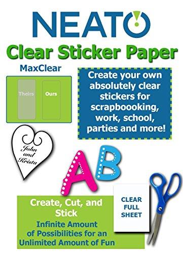 "Printable Transparent Sticker Paper - 8.5"" X 11"" Blank Custom Label Sticker Sheets - 10 Clear Sheets - for Inkjet and Laser Printers - Weatherproof - Tear Resistant- Includes Online Design Software"