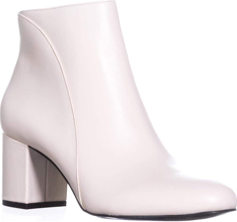 INC International Concepts Floriann Block-Heel Ankle Boot Eggshell Cream Leather 10M