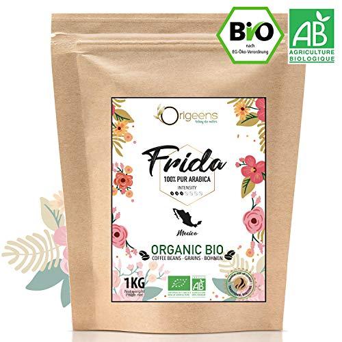 ☘️ BIO Kaffeebohnen 1kg | Biologische Arabica Kaffee Ganze Bohnen | Single Origin Mexiko Frida | Säurearm | Traditionelle Röstung