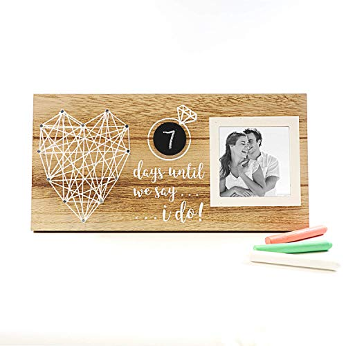 VILIGHT Engagement Picture Frame Gifts for Couples and Bride to Be - Days Until I Do Rustic Wedding Countdown Sign for 3 Inches Photo
