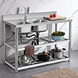 ZHAORU Stainless Steel Utility Sink Commercial Grade Laundry Tub Culinary Sink with Shelf and Workbench, Hot and Cold Faucet, for Outdoor, Indoor, Garage, Kitchen