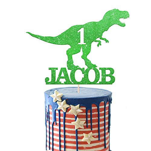EDSG Personalised Birthday Cake Topper | Custom Dinosaur Cake Topper for Boy with Any Name Any Age | Multicolour Glitter Dragon Cake Topper 1st 3th 5th 7th 9th 13th (Green)