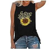 riou Chaleco Sin Mangas para Mujer Camisa Suelta Cuello Redondo Crisantemo Impreso Casual Adolescentes Camiseta para Niñas Camiseta de Playa Blusa De Verano Camisetas De Tirantes