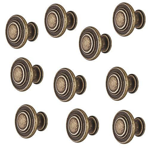 Gedotec Möbel-Griff Antik Messing matt - Metall Möbelknopf Vintage - HELLAS | Schrankknopf Küche für Schubladen & Schrank-Türen | Rund-Knopf Ø 34 mm | 10 Stück - Design Möbel-Knauf rund mit Schrauben
