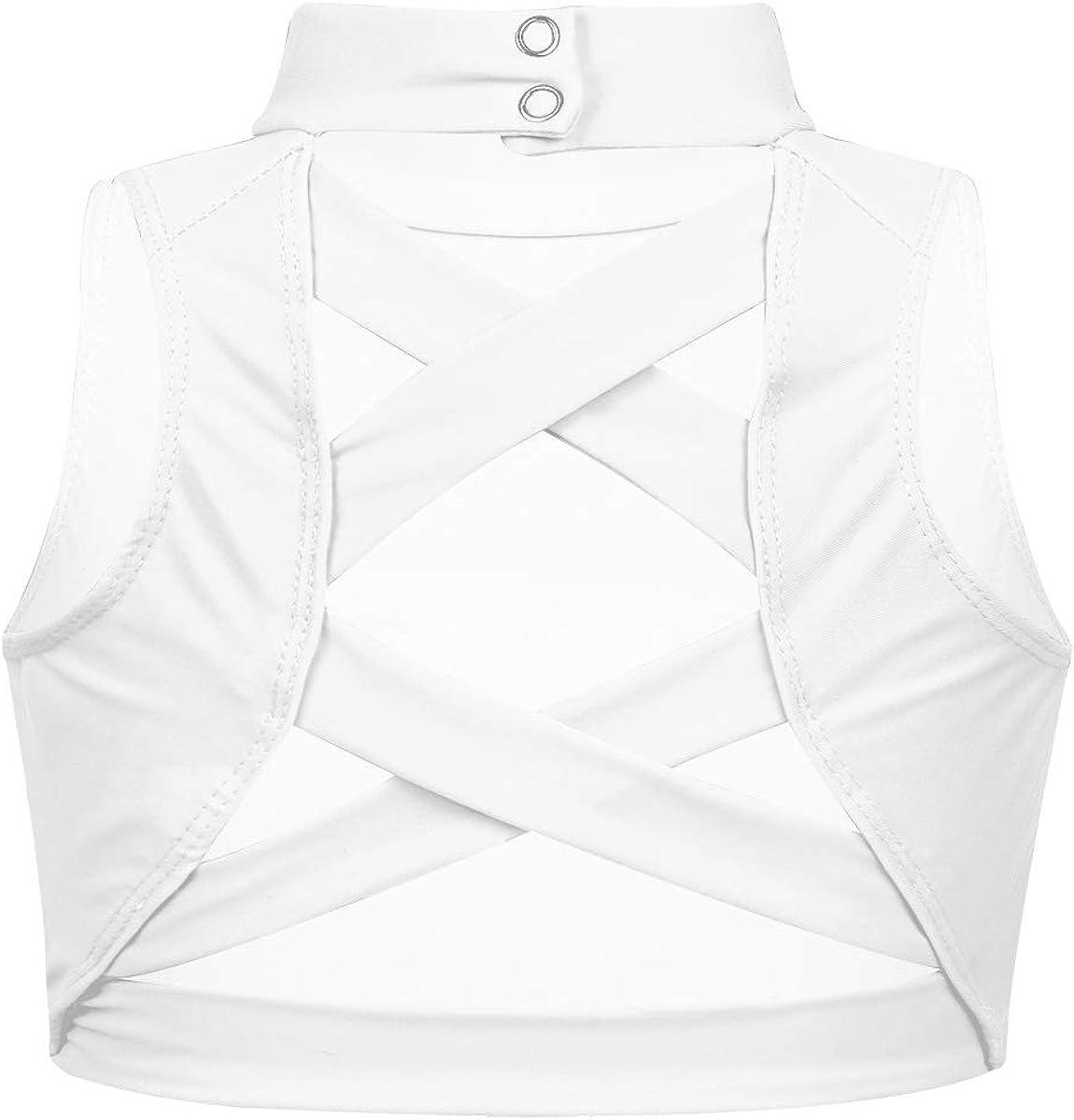 VernLan Sleeveless Mock Neck Crop Top for Teens Girls Athletic Sports Bra Ballet Dance Top Shirt Gymnastics Activewear Criss Cross Ivory 14