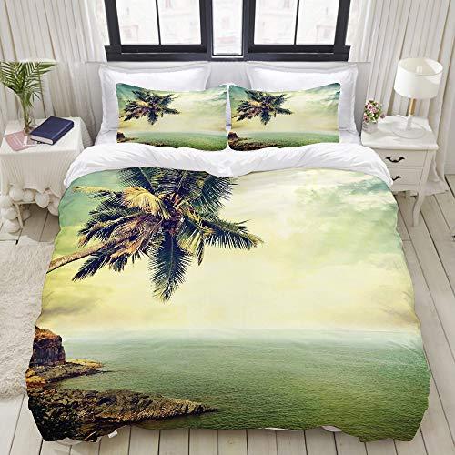 TARTINY Duvet Cover Set, Palm Tree Rocky Shore Caribbean Mist Honeymoon...
