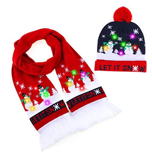 TAGVO 2 Pack LED leuchten Hut Mütze Stricken Schal Set, Bunte LED Xmas Weihnachten Hut Mütze Nackenwärmer, Kinder Winter Schnee Hut Pullover hässliche Urlaub Hut Beanie Cap Schal Set