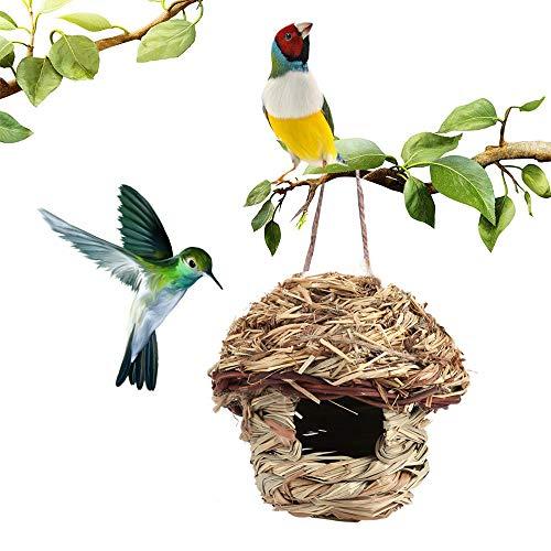 Hummingbird House Hanging Bird NestHand-Woven Bird House Roosting Pocket, Bird Hideaway