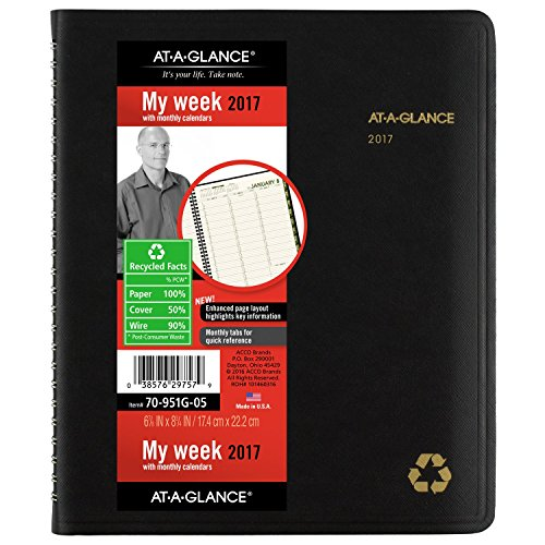 """AT-A-GLANCE Weekly / Monthly Appointment Book / Planner 2017, 6-7/8 x 8-3/4"""", Recycled, Black (70-951G-05)"""