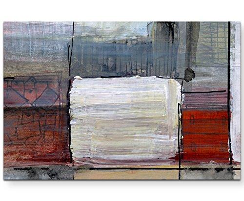 Paul Sinus Art Leinwandbilder | Bilder Leinwand 120x80cm abstraktes Gemälde mit weißem Rechteck