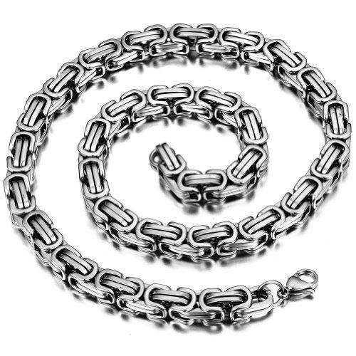 JewelryWe Schmuck Herren-Kette, Edelstahl Biker Königskette Halskette, Silber, Breite 8mm, Länge 53cm