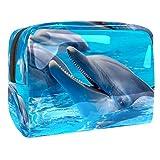 Bolsa de Cosméticos Delfín de Acuario Bolsa de Maquillaje Bolso Cosmetico Multipropósito con Cierre de Cremallera, Viajes Organizador 18.5x7.5x13cm