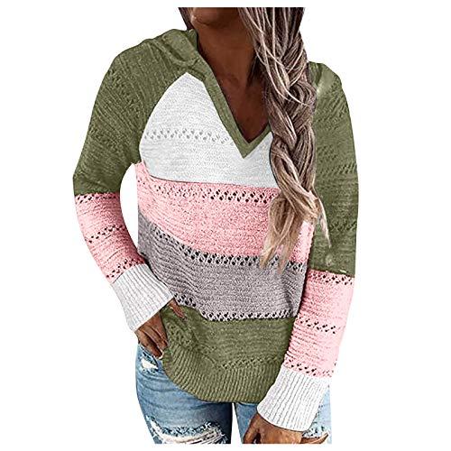 TopPKUAL - Sudadera con capucha para mujer, cuello en V, para otoño e invierno, elegante, a rayas, de punto de patchwork, de manga larga, con cordón #01 verde militar XXXXL