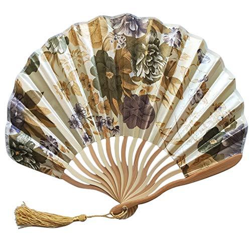 wuayi Éventail pliant en soie et bambou de style chinois pour danse, cosplay, fête de mariage, maison, bureau, décoration murale