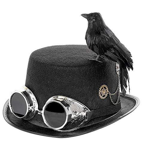 mysticall Sombrero Steampunk con Gafas Y Pájaro Cuervo Negro para Som