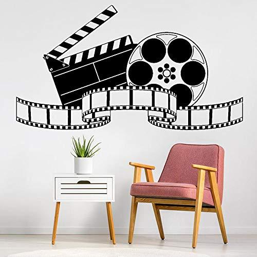 Cine en casa Cine Logo Letrero Cámara de video Película Película Cinta Adhesivo de pared Vinilo Arte Calcomanía Dormitorio Sala de estar Oficina Club Estudio fotográfico Decoración para el h