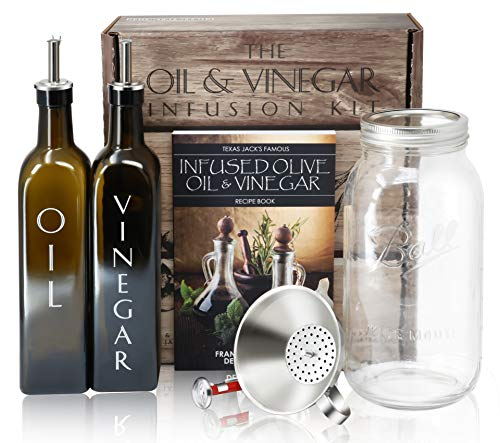 The Olive Oil & Vinegar Infusion Kit | Recipe & Instruction Book w/over 40 Recipes | Set of 500mL Dark Green Square Bottles w/Dispensers | 64oz Ball Mason Jar | Funnel Strainer | Kitchen Thermometer